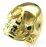 Hommes Acier Inoxydable Bagues Punk Gothique Crâne Or Taille 59 - Adisaer Bijoux