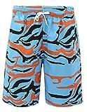 EOZY-Lovers Adulti Pantaloncini Stampa Lines Tigre Sciolto Bermuda Coulisse Spiaggia Pantaloni Corti Estate Blu Vita 72-102cm