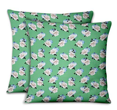 S4sassy verde popeline di cotone bottiglia di cuore e rose copridivano e cuscini per la casacuscini decorativi cuscini per il divano letto 2pezzi-20 x 20 pollici