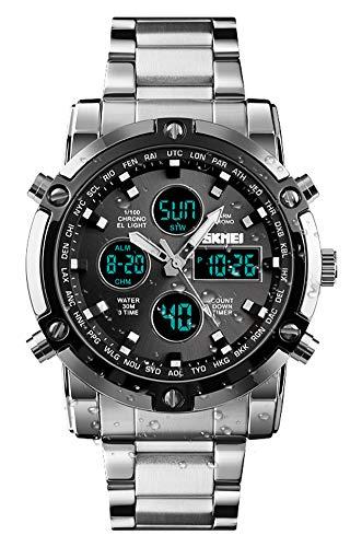 BHGWR Herren Analog Digital Quarz Uhr mit Silber Edelstahl Armband, Herren Militär Sportuhr mit Wecker/Countdown/Stoppuhr, großes Gesicht wasserdicht Digitaluhr Armbanduhr für Männer (S-grau)