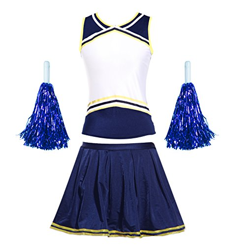 elf Custom Iron On Transfer Logo Blank Front Cheerleading Uniform / Squad Cheerleader Costume outfit w/ Brief N Pompoms Blue+Yellow m uk 8 10 ()