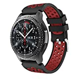 Yayuu Gear S3 Frontier/Classic Watch Cinturino,Braccialetto di Ricambio in Silicone Sportivo Cinturino per Samsung Gear S3 Frontier/S3 Classic/Moto 360 2 nd Gen 46 mm Smart Watch (E, Nero-Rosso)