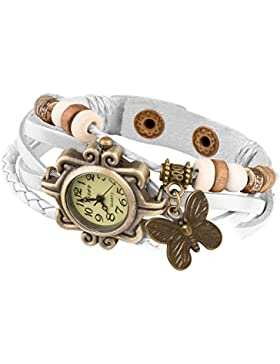 Taffstyle Damen Armbanduhr aus geflochtenem Leder mit Charms Anhänger Schmetterling - Weiß