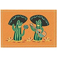 Desierto Mexicano Decoración de Plantas Naturales Cactus Mariachi con Guitarra y Maracas Alfombras de Baño Antideslizante
