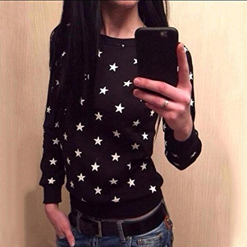 Ouneed® Femme Pull Velours Sweat- Shirt Sweater Imprime Etoile aille 36-50 Noir
