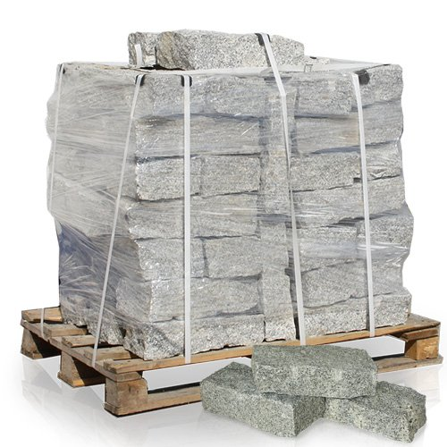 PALIGO Granitmauerstein Granit Bord Rand Kante Palisade Stein Gehweg Straße Natur Steine Grau 40 x 20 x 10cm 1.000kg / 1 Palette Galamio -