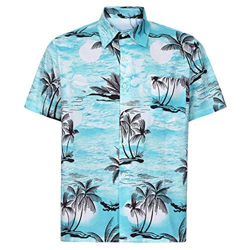 Longra Herren Hawaiihemd Urlaub Hemd Strandhemd Blatthemd Freizeithemd Herren Hemd Kurzarmhemd Front-Tasche Hawaii-Print Casual Button Down Hemd Besonders für Reise Urlaub (S, Blue) (Blue Hawaii Bekleidung)