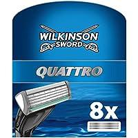 Wilkinson Sword Quattro - Cargador de 8 cuchillas de afeitar masculinas de cuatro hojas