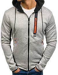 BOLF Men's Basic Hoodie Ribbed Zip Plain Hood Sport Fitness Casual Mix [1A1]
