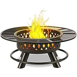blumfeldt Rosario - Brasero 3 en 1, Feu de Camp, Barbecue et Table, Foyer Ø 120 cm, Grille de Barbecue Ø 70 cm, Pare-étincelles, INOX avec Grille chromée, Charbon de Bois ou Bois de Chauffage