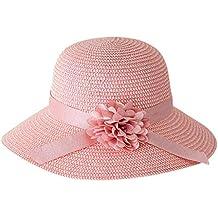 Dwevkeful Gorro de Playa Mujer,Sombrero de Cáñamo Decoración Cinta De Seda Gran ala Gorras
