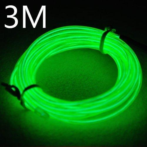 EFK 3M EL Wire EL Kabel Neon Beleuchtung leuchtschnur für Weihnachtsfeiern Rave Partys Halloween Kostüm +Batterie Box (3M, Grün)