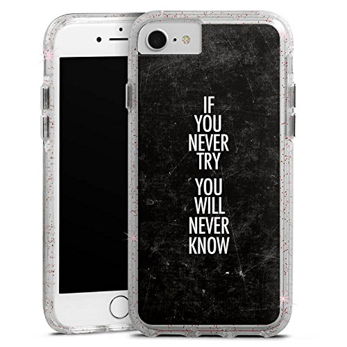 Apple iPhone 8 Bumper Hülle Bumper Case Glitzer Hülle Sayings Phrases Sprüche Bumper Case Glitzer rose gold