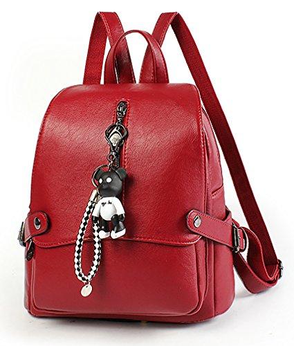 NUCLERL Pure Color Smooth PU Cuero Chicas Mochila Rojo con Cute...