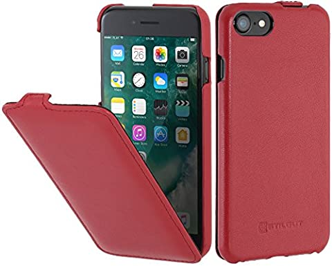 StilGut UltraSlim, housse pour iPhone 8 & iPhone 7 en cuir. Etui de protection à ouverture verticale et fermeture clipsée en cuir véritable pour iPhone 8 & iPhone 7 (4,7 pouces), Rouge nappa