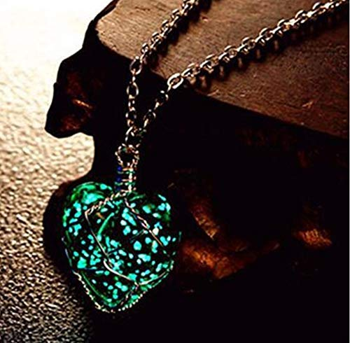 Rack Jack Unique Blue Designer Glow in The Dark Cystal Heart Pendant Locket Jewellery for Girls/Wife/Sister/Mother's Day/Valentine's Day/Birthday/Anniversary (Dark Blue)