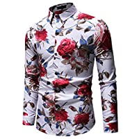 YIMANIE Mens Regular Fit Long Sleeve Shiny Silk Like Satin Dance Prom Luxury Dress Shirt Camouflage Tops (White&Rose, M)