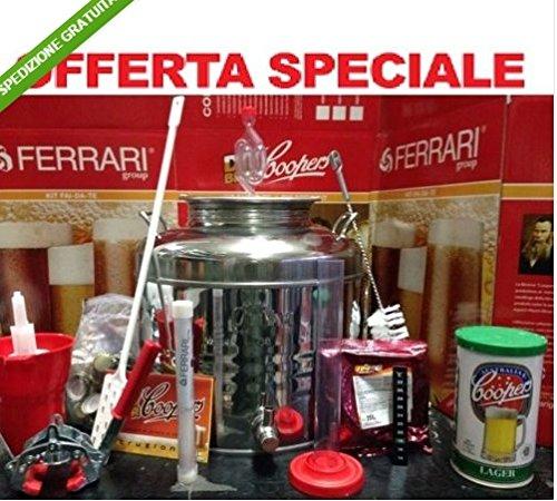 Kit di fermentazione birra acciaio inox 18/10 fusto 50lt+accessori+malto coopers