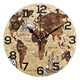 BONIPE Wanduhr, Vintage-Weltkarte, nautischer Kompass, geräuschlos, Nicht tickend, Acryl, 25,4 cm, Dekoration für Zuhause, Büro, Schule, runde Uhr