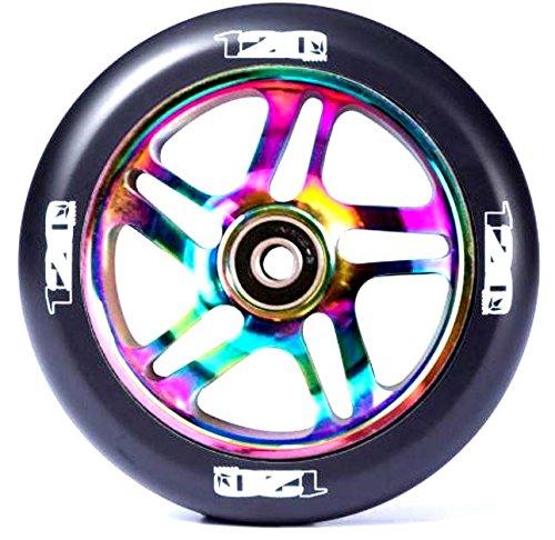 Blunt 120mm Stunt-Scooter 10 Spoked Wheel + ABEC 9 Kugellager Rainbow Neochrom Oilslick/ Pu Schwarz