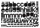 Selbstklebende Kleinbuchstaben Folie schwarz, 20 mm, 1 Bogen a,b,c,d,f,g,h,i,j,k,l,m,n,o,r,s,t,u, je 3x e, je 4x p,q,v,w,z,ß, je 2x x,y, je 1x