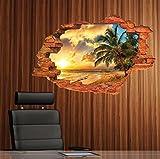 3D Wandsticker Sonnenuntergang am Palmen-Strand Wandtattoo Wandbilder Aufkleber als Dekoration im Haus