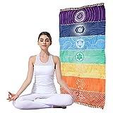 Colorido tapiz de chakra arcoíris, alfombra para yoga de rayas, tapiz de pared de chakra con borlas