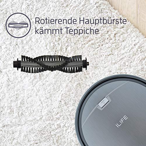 Saugroboter ILIFE A4s automatischer Staubsauger Roboter | Borstenbürste für kurzflorigen Teppich | leiser Betrieb über 2 Stunden staubsaugen | Fallschutz | Beutellos | Staubtank 450ml | Ladestation - 4