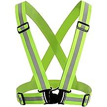 JTDEAL Chaleco de Seguridad Reflectante de Alta Visibilidad arnés elástica Ajustable Ligero para Correr, Trotar, Andar en Bicicleta, Caminar, Hacer Deportes en Exterior Etc