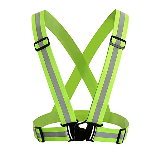Hi Vis Vest, JTDEAL Reflective Running Gear Safety Vest Waist Belt for Outdoor Running, Cycling, Walking, Hiking and Motorcycle Riding - No Velcro, Elastic, Lightweight, Easy to adjust and High Visibility Reflector Strips for More Safety, Green
