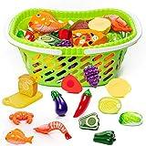 THE TWIDDLERS Cibo Giocattolo con Carrello Incluso - Ideale per Cucina Giochi di finzione educativi per Bambini - Cibo Verdure Frutta da Tagliare Giocattoli, Compleanno Regalo Set