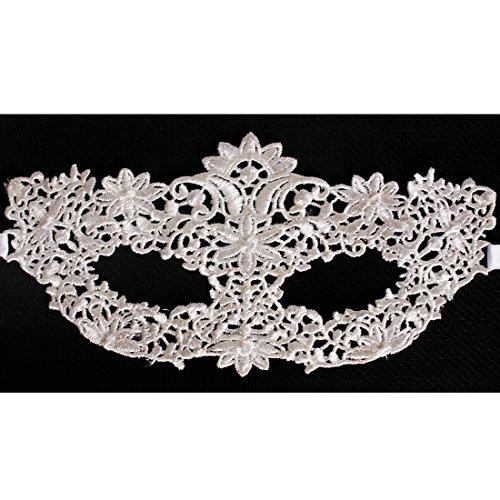 Andux Zone Lace Spitze Maske Reizvolle Venezianische Halloween Kostüm Maskerade Party Cosplay LSMJ-01 (Weiß #11 Blumen)