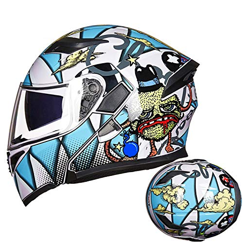 HXYT Casco Moto Flip Visor, Casco DOT per Interni e Doppia Lente Certificato/Rimovibile (Colore: Stampato),Blue,M
