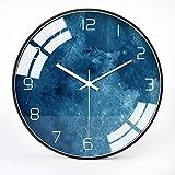 VSANS Horloge Bleue pour Enfants Planet 12 Pouces, Horloge Murale Ronde Élégante Et Moderne, À Piles, Idéale pour Le Salon, La Chambre À Coucher, Le Bureau, La Décoration Murale