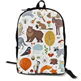 Unisex Fashion Backpack Mushrooms Leaves Wild Animals Birds Insects Fox Wolf Deer Moose Bear Hare Squirrel School Bag 15.6 Inch Laptop Computer Casual Daypack