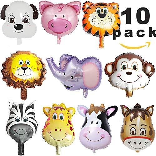 Sunshine smile Folienballon Tiere,Luftballons Tiere,Dschungel Tierballons,Tierkopf Luftballons,Luftballons Tiere Kindergeburtstag - Helium ist Erlaubt, Perfekt für Kinder Geburtstag Party Dekoration (Für Kinder, Luftballons Party)