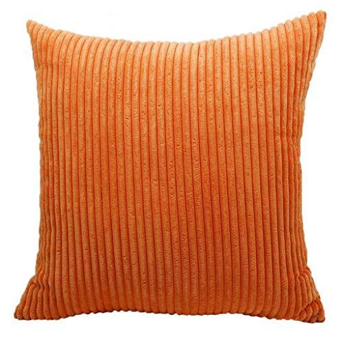 Xmiral Kissenbezüge Kissenhüllen Einfarbig Streifen Weicher Stoff Kopfkissenbezug 45x45 cm(Orange)