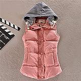Swallowuk Damen Steppweste Herbst Winter Elegante Ärmellos Weste Kapuzenjacke Mädchen Cardigan Mit Reißverschluss Kurz Outerwear Mantel (XL, Rosa)