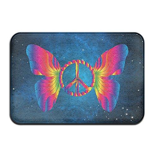 Weichem rutschfestem Peace Zeichen Schmetterling Badteppich Coral Fleece Bereich Teppich Fußmatte Eingang Teppich Fußmatten (Peace-zeichen-fleece)