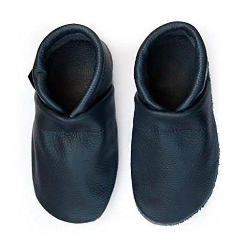 pantau.eu Kinder Lederpuschen Krabbelschuhe Babyschuhe Lauflernschuhe Unifarben Blau