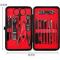 Fatetec Kit de pinzas para uñas de acero inoxidable 15 piezas,Sistema de la herramienta de la preparación de la manicura del viaje de Pedicure/sistema del regalo (15pcs set)