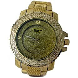 Bling MRSTER Iced out 3D Bezel Hiphop Bling Gold Plated Metal strap Watch