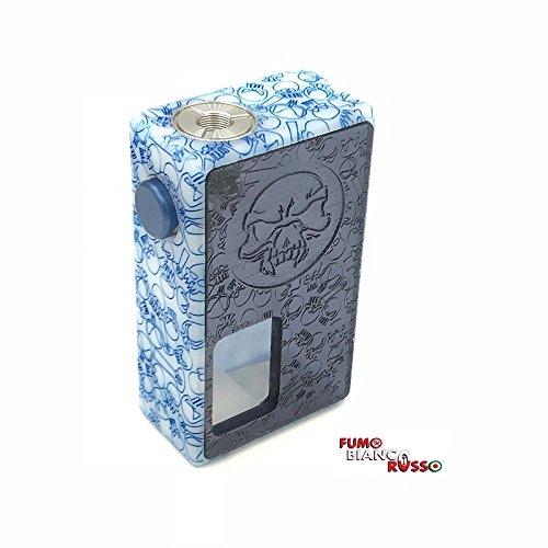 Arios Box Mod - Box meccanica per sigaretta elettronica con lamelle in lega di argento,corpo in derlin e sportellino in plex aerografato disponibile in varianti di colore (Blu/grigio)