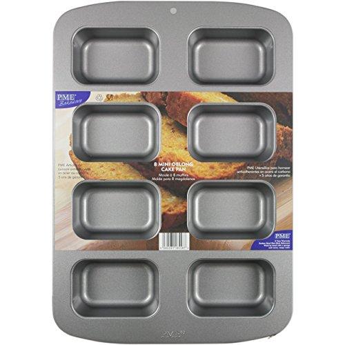 PME antiaderente, in acciaio al carbonio, 20 Mini-Teglia per dolci rettangolare, colore: (Acciaio Inossidabile Rettangolare Pan)