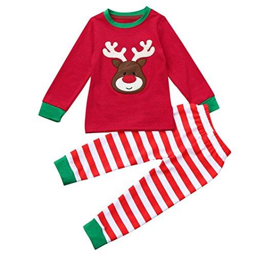 JERFER Weihnachten Zweiteiliger Schlafanzug Weihnachten Kinder Kleinkind Baby Mädchen Jungen Hirsch Tops Streifen Hose Outfit Set Kleidung 2-7 T/Jahre alt (Rot, 6T)