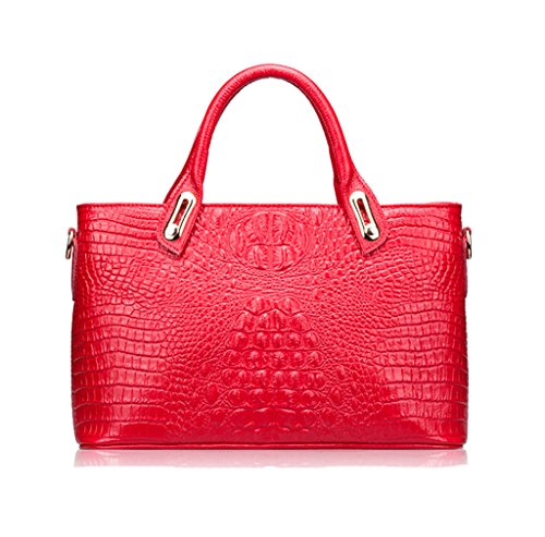 Plover Donna Pelle di mucca Borsa a spalla borsetta Borse cross-body Tote Bag Red