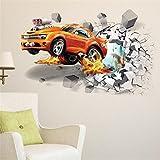 HYXLN 3D Creative Voiture Stickers Muraux Pause Murale Course De Voiture Mur Papier Vinyle Murale Mur Art Decal Pour Garçon Chambre Salon Home Decor