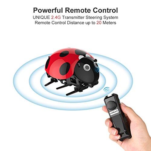 Virhuck DIY RC Mariquita Bionic Insect Toy para Niños 2.4Ghz Sensor Inteligente Modo Remoto / Touch / Automático 3.7V 380mAh Batería Recargable hasta 30 minutos de Tiempo de Juego 1 hora de Tiempo de Carga Coche DIY RC para Niños y Adultos