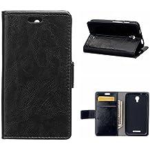 MOONCASE Carcasa para Alcatel One Touch Pixi First OT-4024x (4.0 Inch) Cartera Funda Carcasa Cuero Tapa Case Cover Negro