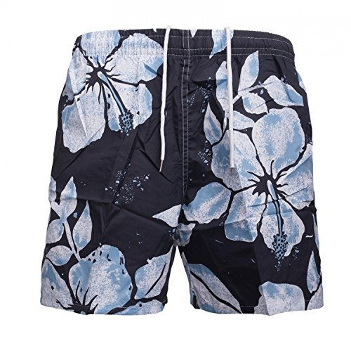 Herren Bade-Hose · Regular Fit · Kurze Bade-Shorts · Floral Flower Print · Sommer Sport Schwimmhose · Hawaii · Netzeinsatz · Schwimmbad Strand · Hibiskus Blumen-Muster · H1495 von Max Men Dunkelblau-Hellblau